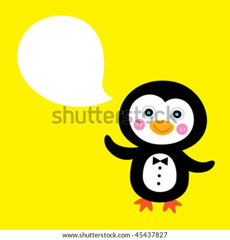 penguin greeting card - stock vector