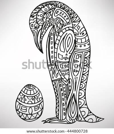 penguin. Hand-drawn with ethnic pattern. Coloring page - isolated on a white background. Zendoodle patterns. Vector illustration.