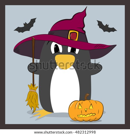 penguin in hat with a broom