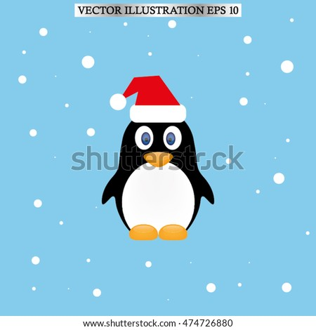Penguin in the hat icon vector EPS 10