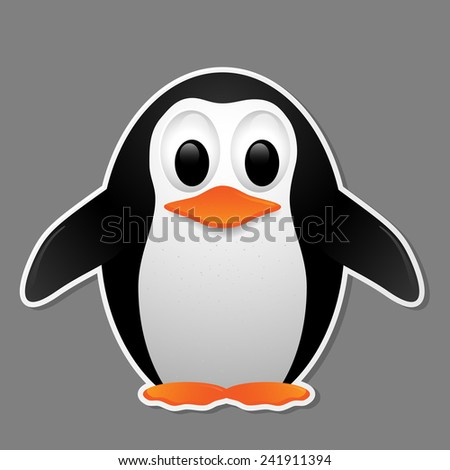 Penguin isolated on grey background. Vector illustration.