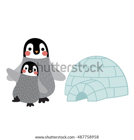 Penguin mother and child in front of igloo animal cartoon character isolated on white background.