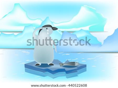 penguin on an arctic vector. - stock vector