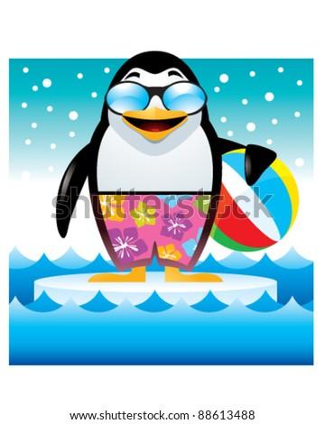 Penguin on Ice - stock vector