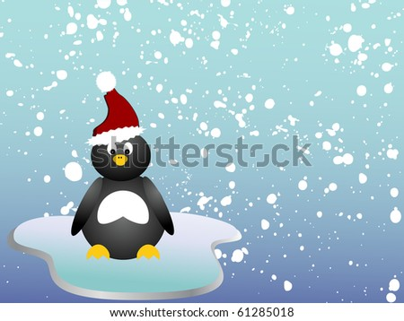penguin on ice - vector
