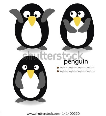 Penguin on white background. vector illustration. - stock vector
