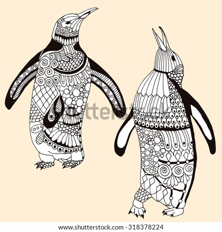 Penguin pair illustration - isolated penguin pair illustration with stylized decoration - stock vector