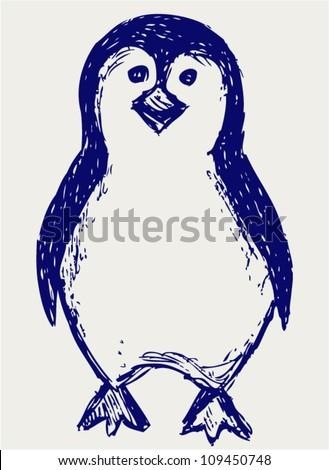 Penguin sketch - stock vector
