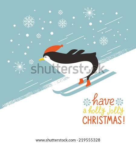 penguin skiing down a mountain slope - stock vector