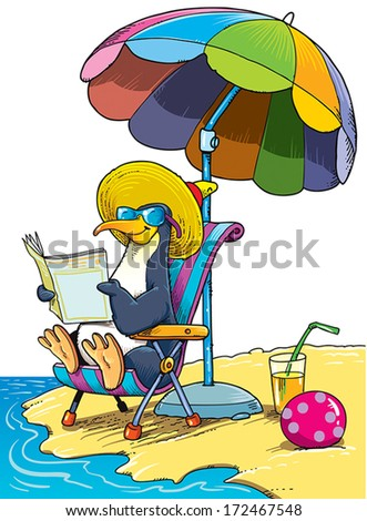 Penguin sunning on the beach by the sea. - stock vector