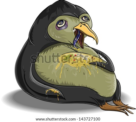 Penguin, which is glutted himself and became ill - stock vector