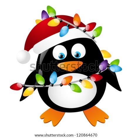 Penguin with Christmas light bulbs - stock vector