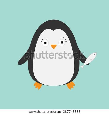 Penguin with fish. Cute cartoon character. Arctic animal collection.  Baby bird. Flat design Vector illustration - stock vector