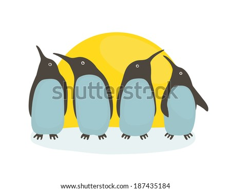 Penguins and Sun. Illustration of penguins birds standing. Vector EPS8 - stock vector