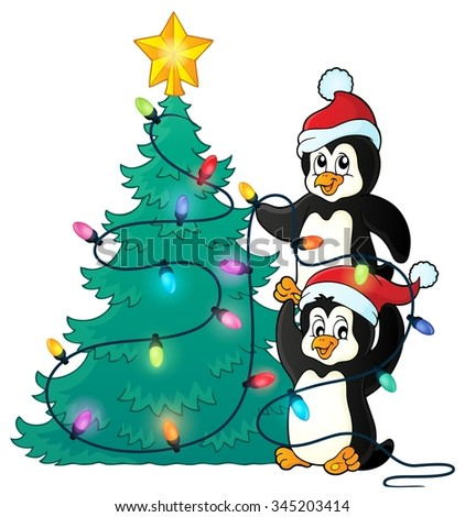 Penguins near Christmas tree theme 1 - eps10 vector illustration.