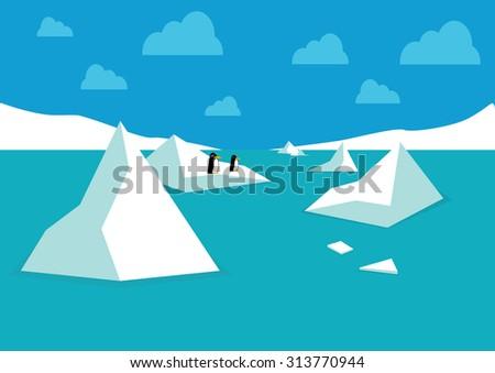 Penguins on an iceberg . Vector - stock vector