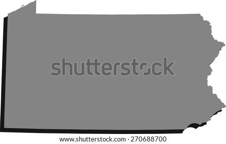 Map Pennsylvania United States 3dillustration Stock Vector