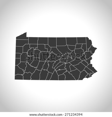 Pennsylvania map - stock vector