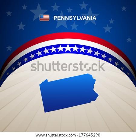 Pennsylvania map vector background - stock vector