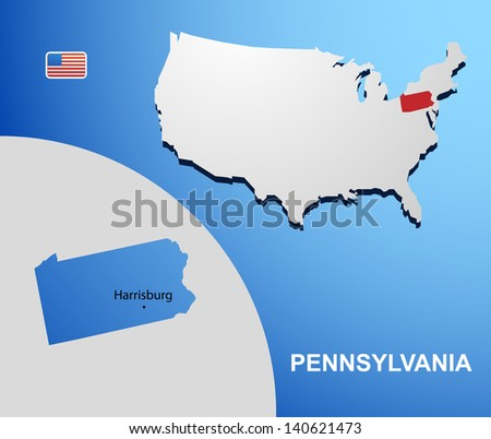 Pennsylvania on USA map with map of the state
