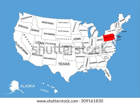 Pennsylvania State, USA, vector map isolated on United states map. Editable blank vector map of USA. - stock vector