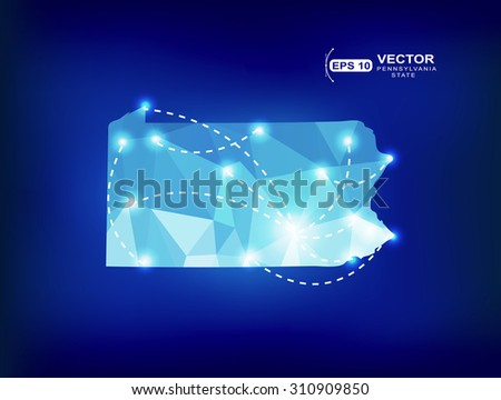 Pennsylvania US state map polygonal with spot lights places - stock vector