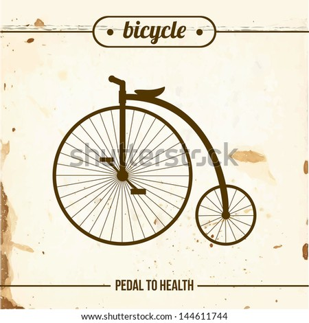 Penny-farthing on grange paper. Old fashion bicycle. - stock vector