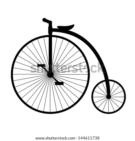 Penny-farthing. Silhouette of old bicycle. - stock vector