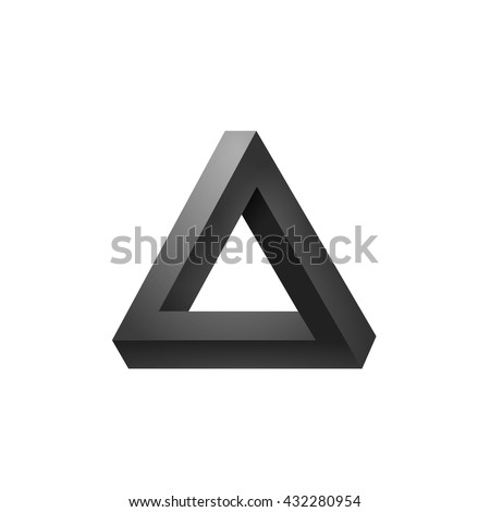 Penrose triangle icon. Impossible triangle shape. Optical Illusion. Vector Illustration isolated on white - stock vector