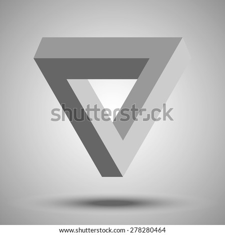 Penrose triangle. Impossible geometric element. Optical illusion in the form of a curved triangular loop. Symbol of infinity and repetition. - stock vector