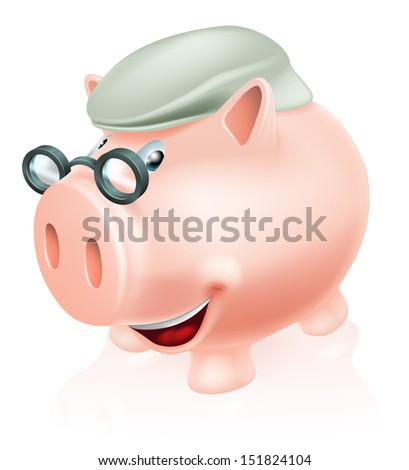 Pension plan savings concept, a piggy bank dressed as a senior adult. Concept for saving for your future or pension. - stock vector
