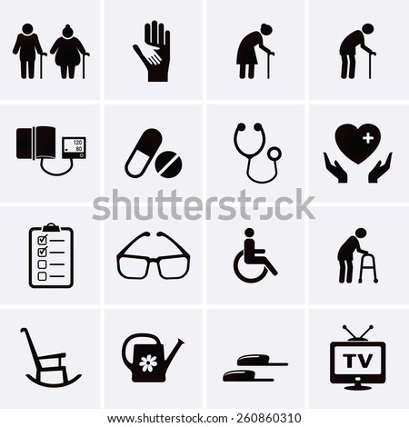 Pensioner and Elderly Care Icons. Vector set - stock vector