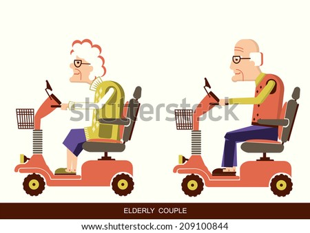 Pensioners old man and old woman drive mobility scooters.Vector illustration isolated  - stock vector