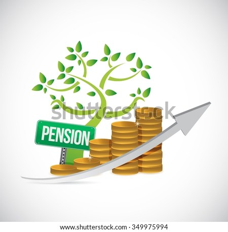pensions tree profits graph illustration design over a white background