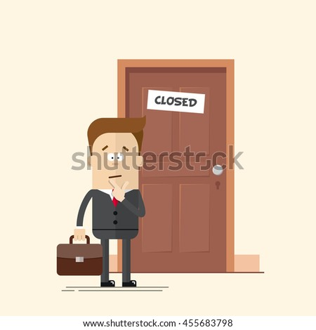 Pensive businessman or manager standing in front of a closed door. A man with a suitcase in a business suit with a tie. Man in confusion. Cartoon flat vector illustration in modern style. - stock vector