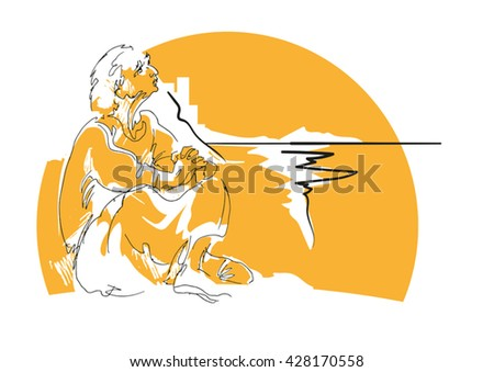 Pensive man in loose clothing is sitting on the ocean - stock vector