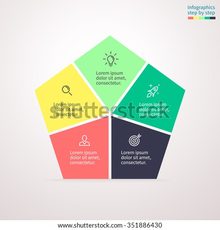 Pentagon diagram, chart, graph with 5 steps, options, parts. - stock vector