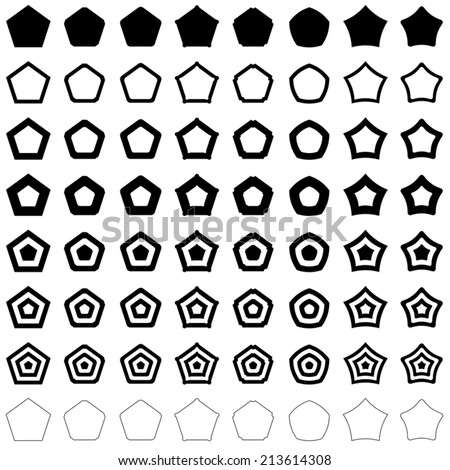 Pentagon set - vector version  - stock vector