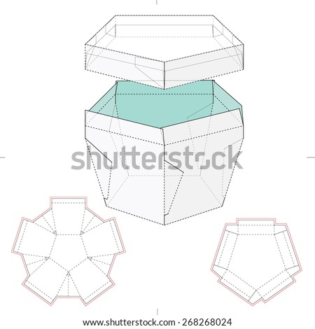 Pentagonal Box with Lid and Die Cut Template - stock vector