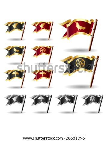 Pentagram, crow, and raven icons on vector flag button set - red and gold, black and silver, and black and gold heralds - stock vector