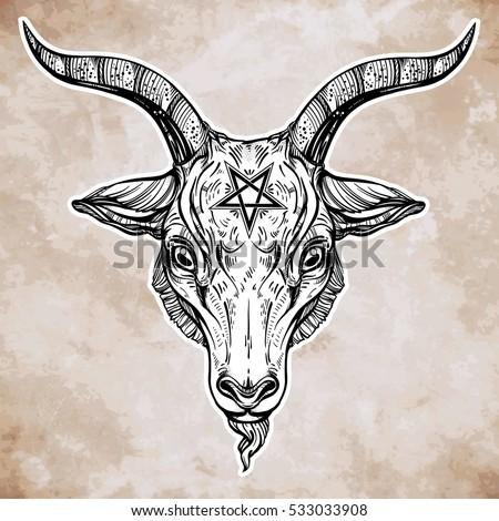 Similiar Satanic Goat Head Tattoo Design Keywords