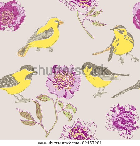 Peonies flowers and birds - stock vector