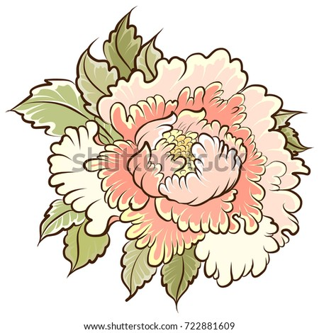 Peony Flower For TattooJapanese Isolate On White Background