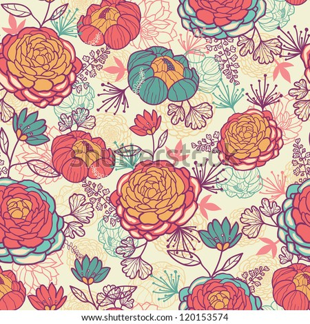 Peony flowers and leaves seamless pattern background - stock vector