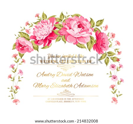 Peony garland for holiday card. Vector illustration. - stock vector