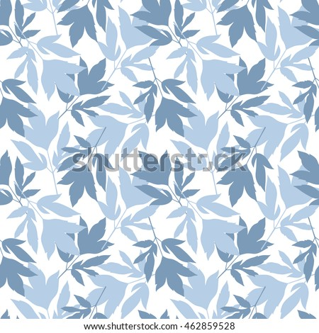 Peony leaves seamless pattern.Vector illustration. All over print.