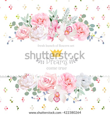 Peony, rose, orchid, camellia, pink flowers and decorative eucaliptus leaves vector design card. Rainbow round confetti backdrop. All elements are isolated and editable. - stock vector