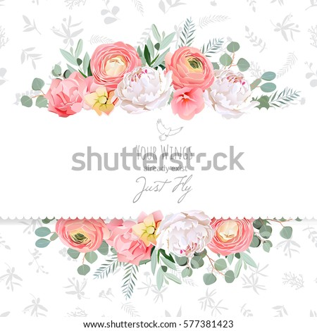 Peony rose ranunculus pink flowers decorative stock vector hd peony rose ranunculus pink flowers and decorative eucaliptus leaves vector design card mightylinksfo Choice Image