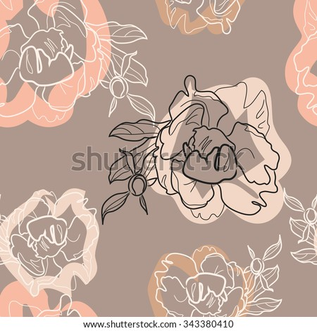 Peony vector pattern. Seamless floral ornament for your textile