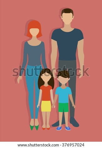 People. A family.The family, consisting of father, mother, son and daughter. - stock vector